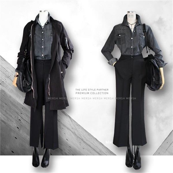 [韓国直送] シックブラックセット/デニムシャツ+スーツパンツ2点セット