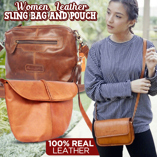 Women Leather Sling Bag and Pouch Collections 100% REAL LEATHER Deals for only Rp385.000 instead of Rp385.000