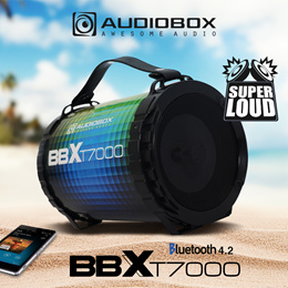 NEW Audiobox BBXT7000 - Bluetooth 4.2 Portable Speaker   Multicolour LED FX   USB and FM-Radio   Super Loud Bass   Mic Input   Aux-In   TF Card Slots   Rechargeable. Local Product w 12 Mths Warranty!