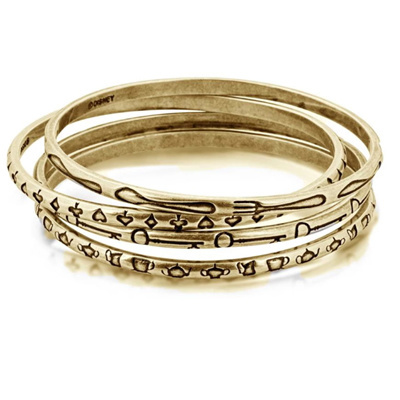 Disney Couture 14K Gold Plated Alice Bangle Set