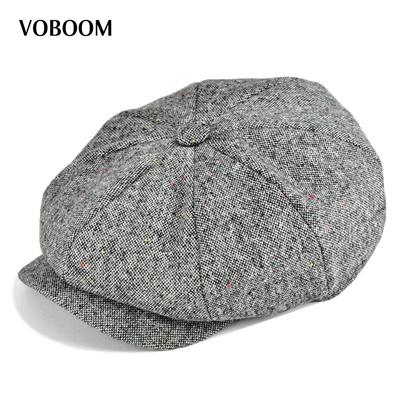 e7cb7358bc shop VOBOOM Wool Tweed Men Women Newsboy 8 Panel Flat Cap Spring Autumn  Breathable Gatsby Ivy Cabbie