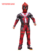 VEVEFHUANG Deadpool Cosplay Costume for Boys Party Dress Deadpool Costume Halloween for Kids Carniva