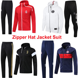 Zipper Hat Jacket Suit Long Soccer Training Uniform Chelsea Tottenham Hotspur Barcelona Coat带帽夹克