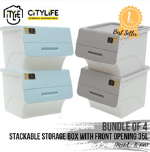 [BUNDLE OF 4] - Citylife Stackable Storage Box with Front Opening 35L