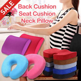 LARGE SIZE Back Support Cushion/Car Seat Cushion/Memory Foam Neck Pillow - MORE THAN 5 COLOURS