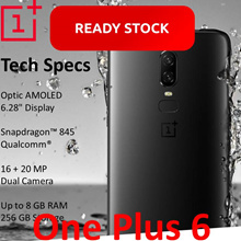 Ready Stocks- One plus 6 Mirror Black/Midnight Black/ Silk White 6GB RAM 64GB storage8GB RAM 128GB