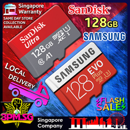 [ 128GB Immediate Stock ] MicroSD C10 V30 U3 SanDisk Ultra Extreme Samsung Evo Plus SG Warranty