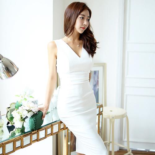 新しい韓国の気質の女性Vネック中空ドレインバックスリムパッケージヒップステップスカートのドレス2017夏/韓国ファッション/ワンピース/花柄ワンピース/Vネックワンピース