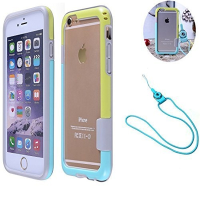 hot sale online a37c0 7f1ab iPhone 6 6s Case, Lanyard Necklace Cell Phone Case Contrast Color Dual TPU  Shockproof Protective Bum