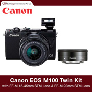 Canon EOS M100 Twin Kit with EF-M 15-45mm f/3.5-6.3 IS STM Lens and EF-M 22mm f/2 STM Lens