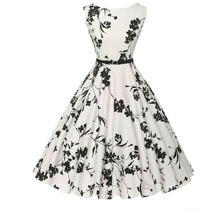 e2fbce9e56987 Women Summer Dress plus size clothing Audrey Hepburn Floral robe Retro  Swing Casual 50S Vintage