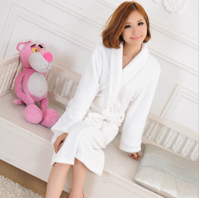 e97efb4510 winter hot lovers bathrobe thickened coral fleece flannel gown ms.man long  sleeved pajamas L