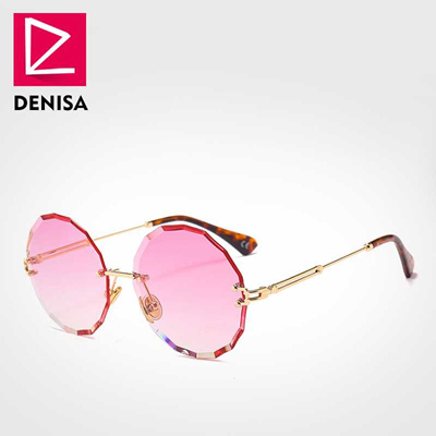 596696bbe4c3 outlet DENISA Vintage Round Sunglasses Women Men 2019 Fashion Rimless Glasses  Retro Pink Sun Glasses