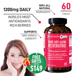 Nano SG Anti-Aging Resveratrol 1200mg - Max Antioxidant Rich Berries ♥ Skin Beauty ♥ Youthful Glow