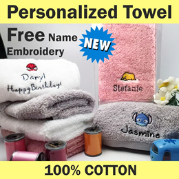 Customized BATH GYM FACE Towel Free Name Embroidery Personalized Cotton Kids GIFT Events