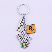 PS4 GTA 5 Game keychain Grand Theft Auto 5 Key Chain For Fans Xbox PC Rockstar Key Ring Holder
