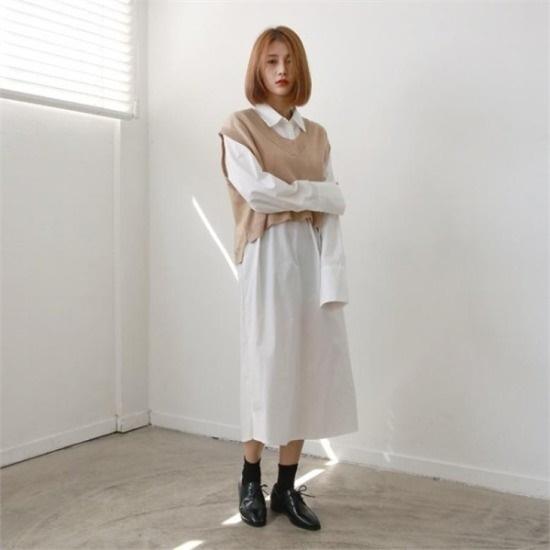 デイリー・マンデー行き来するようにデイリー・マンデーTwopocketshirtsonepieceワンピース プリントのワンピース/ 韓国ファッション
