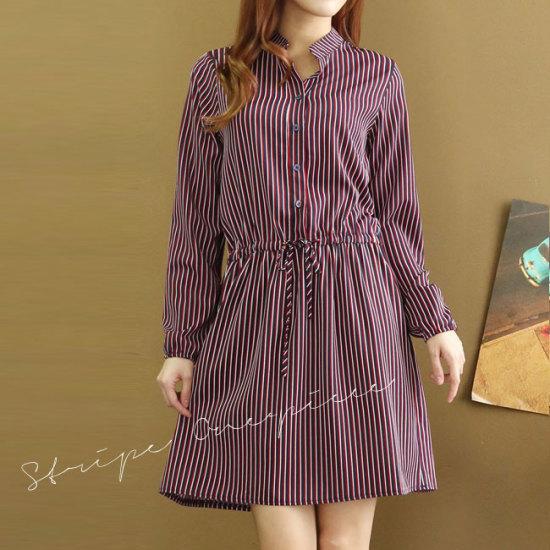 オーサムヴィンセント・ストライプワンピース231858 綿ワンピース/ 韓国ファッション