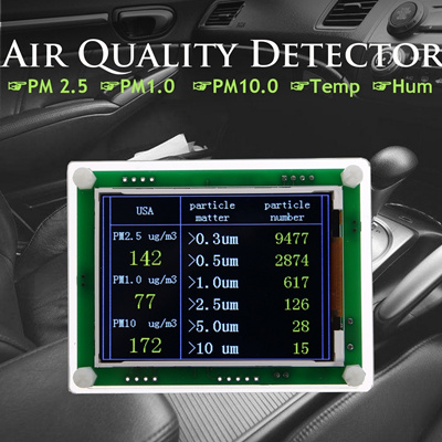 Household/Car PM2 5 Detector Module Air Quality Dust Particulate Matter  Sensor TFT LCD Display Monit