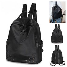 Korean Movie Inspired Rivet Nylon Double Straps Backpack Travel Holiday - Black