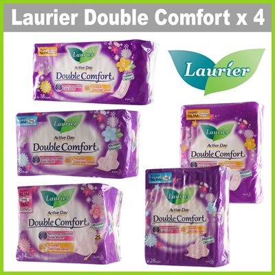 [LAURIER] [Bundle of 4] Double Comfort Active Day Super Slim Sanitary Pads