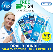 [FREE $5 x 4 GRAB Voucher] Oral B Vitality Toothbrush+1 Refill 2s! Precision Clean / Cross Action / UltraThin