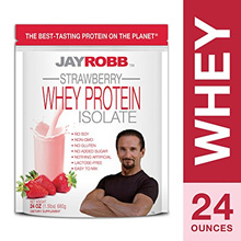 Jay Robb - Grass-Fed Whey Protein Isolate Powder, Outrageously Delicious, Strawberry, 23 Servings (2