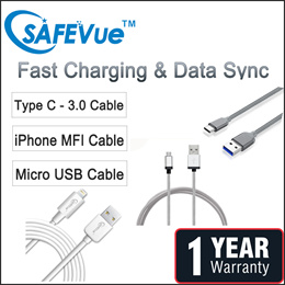 SAFEVue Lightning/Micro/ Type C-3.0 Cable | Local Warranty | MFI Cable | Apple Certified
