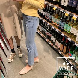 [CHERRYKOKO官方旗艦店]大腿刷白直筒貼身單寧牛仔褲