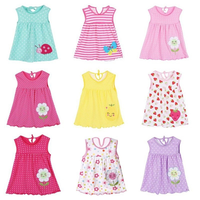 28dae8e44f63 Qoo10 - Cute Kid Girls Summer Dress Cartoon Flower Sleeveless Party ...