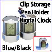Clip Storage Pen Holder Digital Clock Blue Black / watch box case alarm timer LCD ballpen time day date month adj thermometer calendar / office supplies home