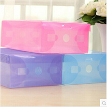 Thick plastic clamshell shoebox storage box crystal clear shoe storage boxes can be assembled 3977
