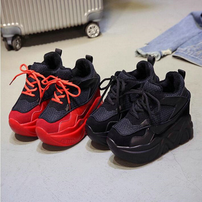 47e916bd5 shop woman high heels wedges hidden heel platform casual sneaker shoes  fashion Girl lace up height