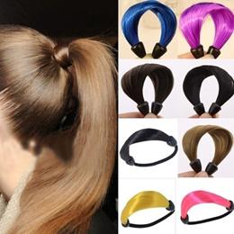 Fashion Elastic Scrunchie Ponytail Holder Womens Straight Wig Hair Band Rope