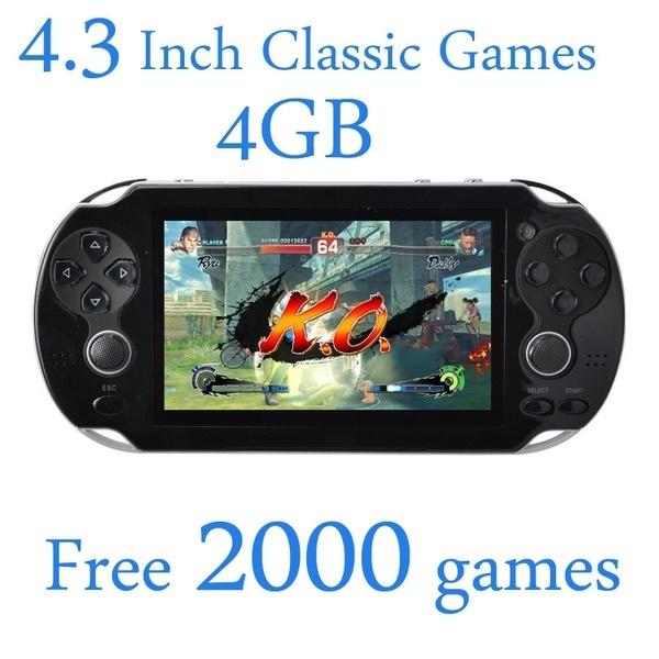 4.3インチ4GBの無料2000ゲームハンドヘルドゲームプレーヤービデオゲームコンソールMP4 MP5プレーヤー