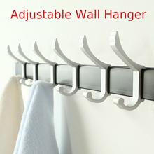 Aluminum Bathroom Adjustable Hook Clothes Hanger Rack Kitchen Door Wall Hanging Towel Rack Shelf