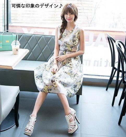 レディース ファッション ノースリーブ ワンピースドレス ラウンドネック シフォンドレス ミディアム ゆるふわ かわいい キュート 夏 外出 買い物 デート 旅行 アウトドア 花柄 送料無料