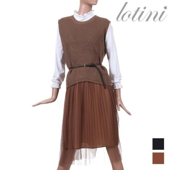 ロティニLOTINIレイヤードチョッキワンピースSETLTKOP06 面ワンピース/ 韓国ファッション