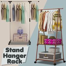 HANGER RACK SERBAGUNA 4 RODA / STAND / TRIANGLE  | RAK BAJU BUKU