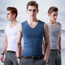 Buy 2 Free Shipping、men Ice silk  T-shirts、V collar vest、 cool、breathable