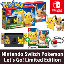 ★No GST Option!+64SD Card!★NEW Nintendo Switch Pokemon Lets Go! Pikachu Eevee Limited Edition