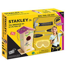 Stanley Jr DIY Birdhouse Kit with Classic 5-Piece Tool Set for Kids Pink