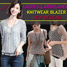 Ladies Fashion Cardigans SWEATERS KNITWEAR BLAZER Office outerwear batwing-sleeved blouses/Many colors