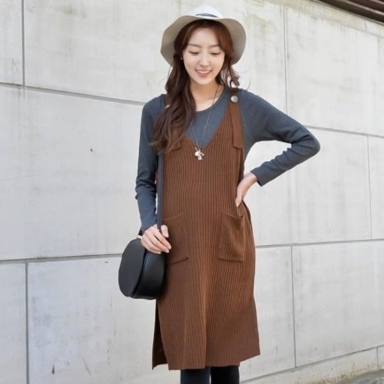 妊婦服・ドット・コムパルティータ妊婦ニット・ワンピース 塔/袖なしのワンピース/ 韓国ファッション