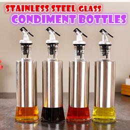 Stainless steel glass condiment bottle leakproof kitchen storage oil soy sauce vinegar jar organizer