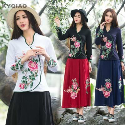 0152dae23d9 wholesale KYQIAO Cheap-clothes-china t shirt women autumn winter ethnic  boho designer long