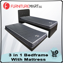 3 in 1 Bed Frame with free 2 X Single 4inch Mattresses