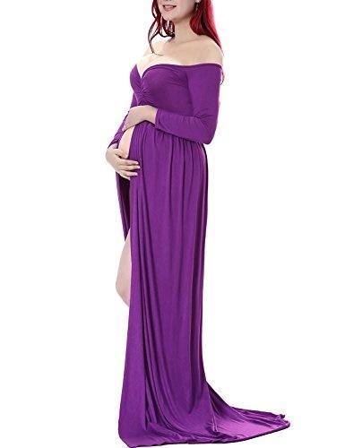 0f679207106fd Saslax Maternity Split Front Cotton Maternity Gown Maxi Dress For Photos  Shoot