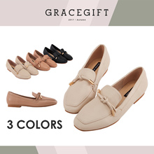 Gracegift-Classic Simplistic Metal Tie Loafers/Women/Girls Winter Shoes/Taiw