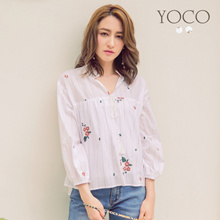 YOCO - Floral Embroidered Tie Blouse-180604
